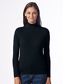 Solid Ribbed Cotton Turtleneck Sweater