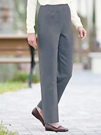 Suedecloth Flat-Front Pull-On Pants