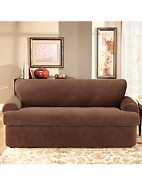 Stretch Pique 3-Piece T-Cushion Slipcover