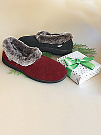 Women's Acorn Chinchilla Collar Slippers