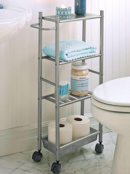 Slim metal rolling cart bathroom storage solutions - Bathroom storage on wheels ...