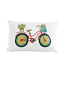 Embroidered Bicycle Pillow