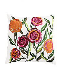 Embroidered Roses Pillow