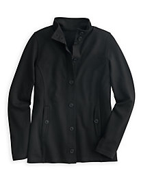 Ponte Knit Stand-up Collar Jacket