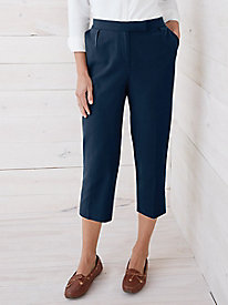 Silk Cotton Twill Easy-On Capri Pant
