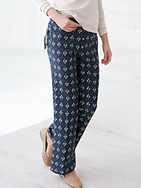 Silk Linen Easy-On Print Pant