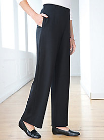 Ponte Solid Relaxed-Leg Pull-On Pant