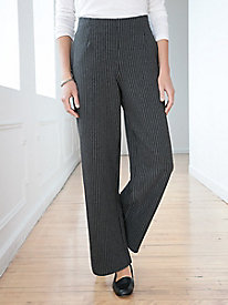 Ponte Stripe Relaxed-Leg Pull-On Pant