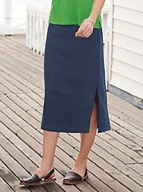 Silk Linen Pull-on Skirt...