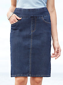 EASY-ON Denim Pull-on Skirt