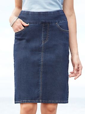 EASY-ON Denim Pull-on Skirt | WinterSilks