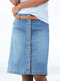 Easy-On Classic Fit Button-Front Denim Skirt