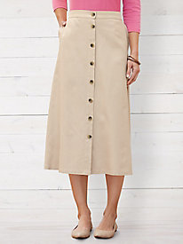Silk Cotton Easy-On Twill Skirt