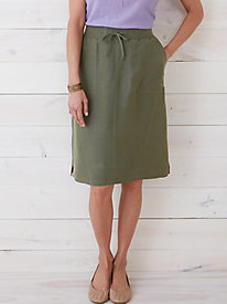 Silk Linen Easy-On Skirt