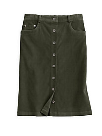Easy-On Button Front Corduroy Skirt