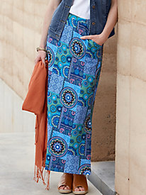 Print Cotton Spandex Jersey Maxi Skirt