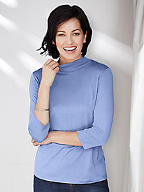 ¾-Sleeve Mock Neck Top in Mid-weight Washable Silk