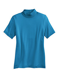 Short Sleeve Mock Neck Top in Mid-weight Washable Silk