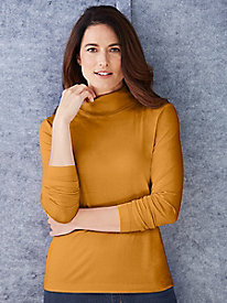 Pure Silk No-cuff Mid-weight Turtleneck