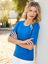 Elbow Sleeve Scoop Neck Tee in Silk Cotton