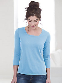 3/4 Sleeve Square Neck Tee in Silk Cotton