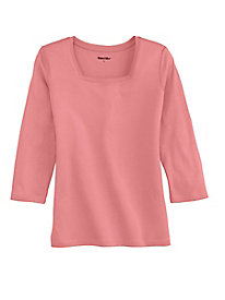 3/4 Sleeve Square-neck Tee in Silk Cotton