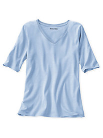 Elbow Sleeve V-Neck Tee in Silk Cotton