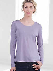 Long Sleeve Scoop Neck Tee in Silk Cotton