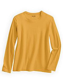 Cotton Modal Long Sleeve Crewneck Stretch Tee