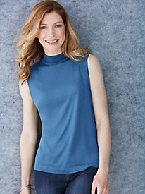 Sleeveless Mock Neck in Mid-Weight Washable Silk