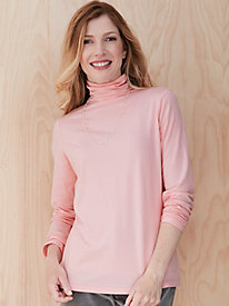Cotton Modal Long Sleeve Funnel Neck Top