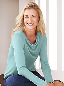 Long Sleeve Cowl Top in Mid-weight Washable Silk