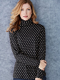 Dot Print Funnel Neck in Mid-weight Washable Silk