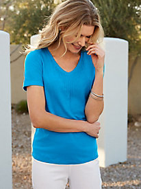 Linen Cotton V-Neck with Stitch Details