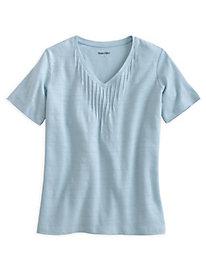 Linen Cotton V-Neck with Stitch Details
