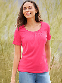 Silk Cotton Gathered Neck Tee