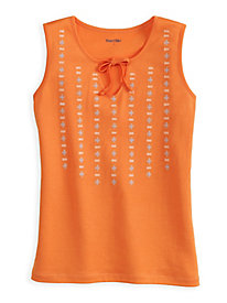 Silk Cotton Embroidered Tank with Tie