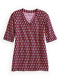 Print Linen Cotton Elbow Sleeve V-neck Top