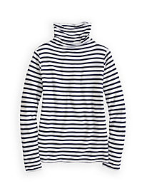 Striped Funnel Neck Top in Mid-weight Washable Silk
