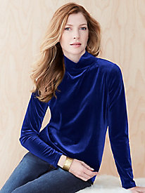 Stretch Velvet Funnel Neck Top