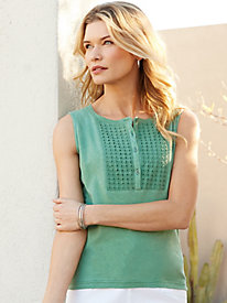 Linen Cotton Tank with Eyelet
