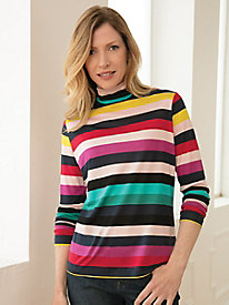 Pure Silk, Mid-Weight, Long-Sleeve Stripe Turtleneck