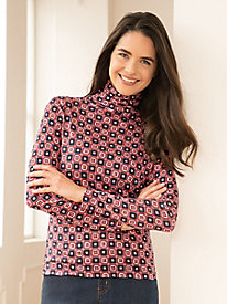 Pure Silk, Mid-Weight, Long-Sleeve Geo Print Funnelneck