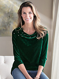 3/4 Sleeve Drape-Neck Faux Pearl Tunic Top