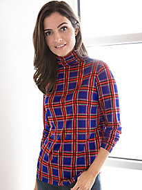Long-Sleeve Silk Plaid Print Funnelneck