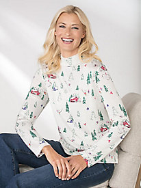 Long-Sleeve Silk Print Mockneck