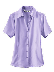 Signature Silk Cotton Short Sleeve Blouse