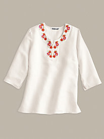 Silk Linen Tunic with Floral Embroidery