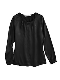 Washable Silk Charmeuse Pullover Blouse