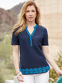 Silk Linen Short Sleeve Tunic